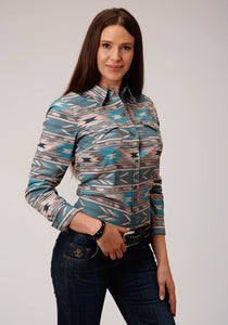 West Made Collection Westm Womens Long Sleeve 00325 Stepped Aztec Print