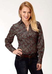 Ladies Amarillo Collection- Mountain Lodge Amarillo Womens Long Sleeve Shirt 1267 Vanguard Paisley