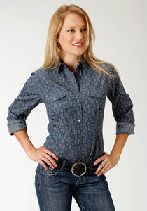 Ladies Amarillo Collection- Agate Stone Amarillo Womens Long Sleeve Shirt 1520 Agate Paisley