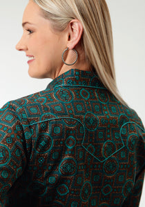 Ladies Amarillo Collection- Vintage Turquoise Amarillo Womens Long Sleeve Shirt 0542 Vintage Medallion