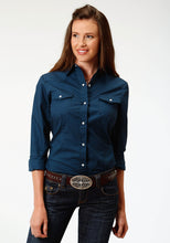 Ladies Amarillo Collection- True Blue Amarillo Womens Long Sleeve 3353 Solid Poplin - Navy