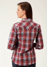 Ladies Amarillo Collection- Red Marble Amarillo Womens Long Sleeve 2444 Red Shadow Plaid