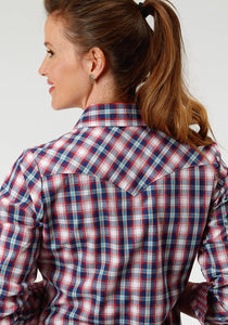 Ladies Amarillo Collection- True Blue Amarillo Womens Long Sleeve 3304 New England Plaid