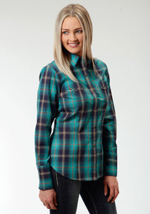 Ladies Amarillo Collection- Vintage Turquoise Amarillo Womens Long Sleeve Shirt 0552 Fire House Plaid
