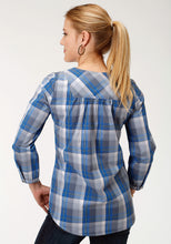 Ladies Amarillo Collection- Crystal Blue Amarillo Womens Long Sleeve Shirt 1262 Blue Grey Plaid
