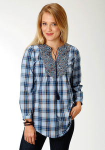 Ladies Amarillo Collection- Indigo Trail Amarillo Womens Long Sleeve Shirt 1524 Vintage Plaid