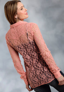 Five Star- Autumn Sunset 5star Ladies Long Sleeve Shirt 9418 Allover Lace Retro Shirt