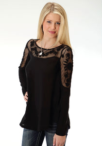 Studio West- Folk Magic Swest Womens Long Sleeve Shirt 0803 Rayon And Lace Blouse