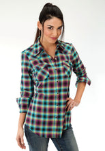 Five Star- Treasure Hunt 5star Womens Long Sleeve Shirt 0645 Ombre Plaid Ls Western Shirt