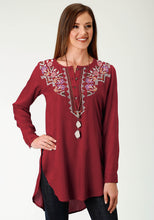 Studio West- Autumn Vineyard Swest Womens Long Sleeve 2048 Rayon Challis Peasant Blouse