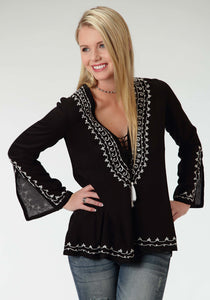Five Star- Warrior Princess 5star Womens Long Sleeve Shirt 0907 Rayon Hi-lo Peasant Blouse