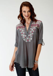 Studio West- Rosy Outlook Swest Womens Long Sleeve Shirt 1568 Cotton Rayon Lawn Tunic