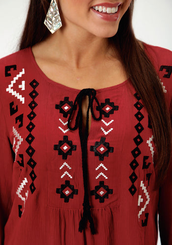 Studio West- Gypsy Woman Swest Womens Long Sleeve Shirt 0605 Cp Woven Crepe