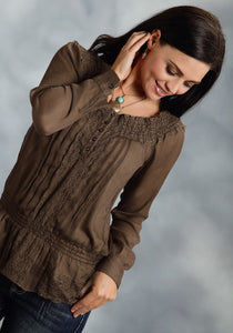 Studio West- Native Rituals Swest Ladies Long Sleeve Shirt 0136 Poly Chiffon Peasant Blouse