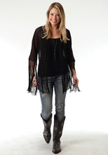 Studio West- Gypsy Woman Swest Womens Long Sleeve Shirt 0806 Poly Georgette Fringed Cardigan