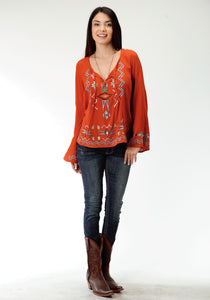 Studio West- Native Dancer Swest Womens Long Sleeve Shirt 0605 Cp Woven Crepe Peasant Blouse