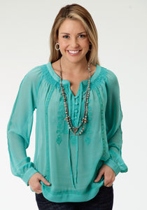 Studio West- Native Dancer Swest Womens Long Sleeve Shirt 0790 Georgette Blouse With Embroidery