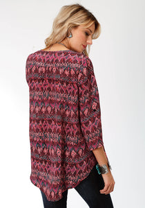 Studio West Collection- Native Arts Swest Womens Long Sleeve 9472 Ethnic Stripe Ikat Prt Tunic