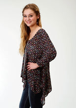Five Star- Spring I 5star Womens Long Sleeve Shirt 1562 Printed Poly Long Length Tunic