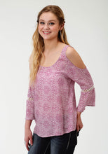 Five Star- Spring Ii 5star Womens Long Sleeve Shirt 1599 Lace Prt Peasant Blouse