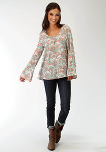 Five Star- Spring Iii 5star Womens Long Sleeve Shirt 1598 Turquoise Paisley Peasant Blouse