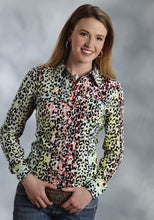 Five Star- Something Wild 5star Ladies Long Sleeve Shirt 9586 Multi Color Leopard Print Shirt