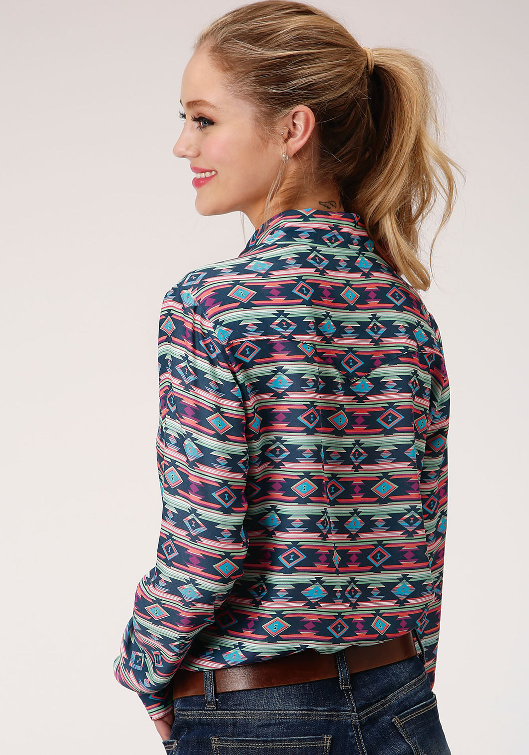 Five Star Collection- Spring Ii 5star Womens Long Sleeve 00118 Navy Aztec Prt Rayon Ls Blouse