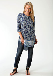 Studio West- Forever Blue Swest Womens Long Sleeve Shirt 1730 Paisley Border Prt Rayon Tunic