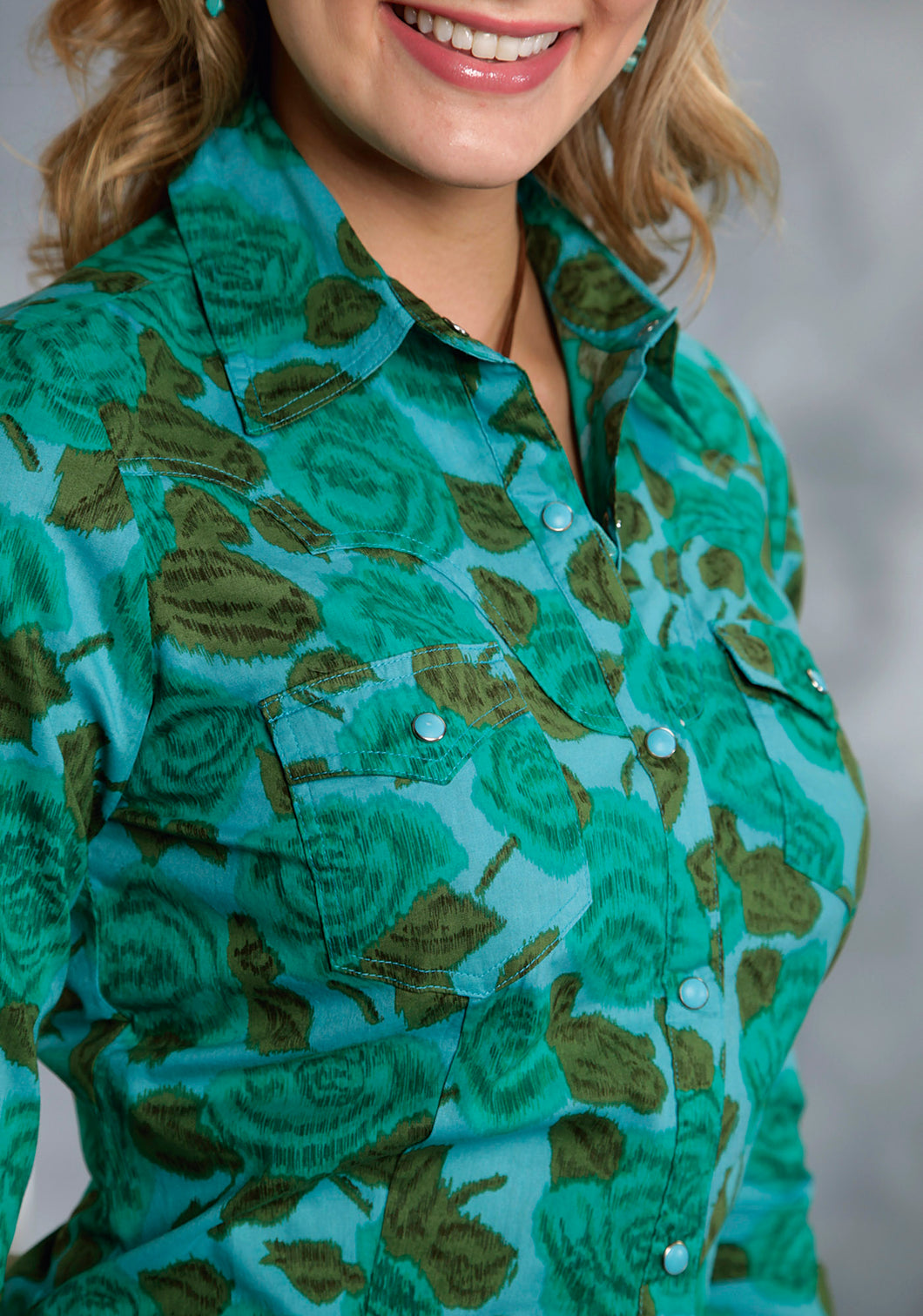 Five Star- Emerald Forest 5star Ladies Long Sleeve Shirt 9385 Emerald Floral Print Shirt