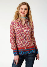 Five Star Collection- Fall Iii 5star Womens Long Sleeve 2271 Border Print Rayon Western Blouse