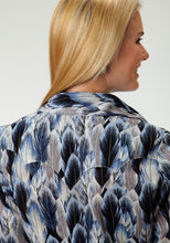 Five Star- Birds Of A Feather 5star Womens Long Sleeve Shirt 0540 Blue Feather Print