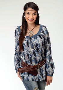 Five Star- Birds Of A Feather 5star Womens Long Sleeve Shirt 0540 Feather Print Peasant Blouse