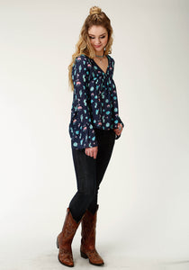 Five Star Collection- Fall I 5star Womens Long Sleeve 2255 Cactus Prt Rayon Peasant Blouse