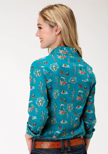Five Star Collection- Fall I 5star Womens Long Sleeve 9870 Printed Rayon Western Blouse