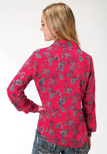 Five Star Collection- Fall Ii 5star Womens Long Sleeve 9889 Red Paisley Ls Western Blouse