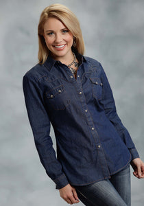 Five Star- Fall I 5star Ladies Long Sleeve Shirt 9921 5 Oz Indigo Denim Shirt