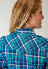 Five Star- Spring I 5star Womens Long Sleeve Shirt 1558 Turqoise Navy Plaid Western Shirt