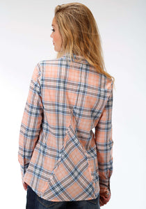 Five Star- Summer Ii 5star Womens Long Sleeve Shirt 1141 Creamsickle Plaid Wstn Shirt