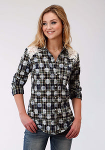Five Star- Fall Ii 5star Womens Long Sleeve Shirt 1421 Polka Dot Plaid Ls Shirt
