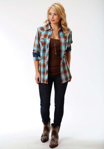 Performance Collection Westm Womens Long Sleeve Shirt 0999 Copper Check