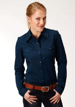 Ladies Amarillo Collection- Crystal Blue Amarillo Womens Long Sleeve Shirt 1272 Black Fill - Navy