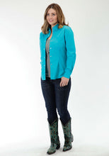 Ladies Amarillo Collection- Prairie Wind Amarillo Womens Long Sleeve Shirt 0856 Solid Poplin - Turquoise