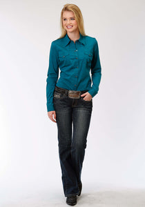 Ladies Amarillo Collection- Blue Jay Amarillo Womens Long Sleeve Shirt 1257 Black Filled - Teal