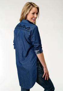 Studio West- Blue Angel Swest Womens Long Sleeve Shirt 1313 5 Oz Indigo Denim Tunic