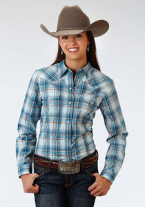 Ladies Amarillo Collection- Sundown Amarillo Womens Long Sleeve Shirt 0966 Checkers Plaid