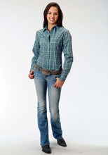Ladies Amarillo Collection- Lucky Clover Amarillo Womens Long Sleeve Shirt 0970 Flag Plaid