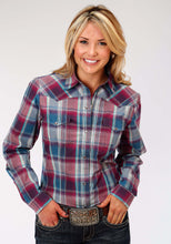 Ladies Amarillo Collection- Old Glory Amarillo Womens Long Sleeve Shirt 1181 Flag Plaid