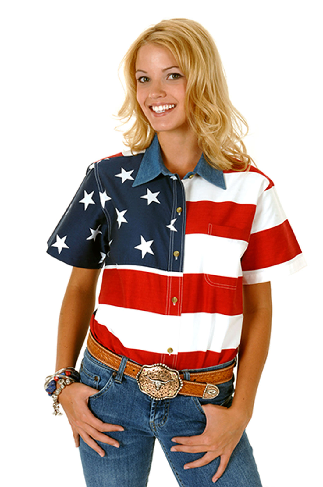 Stars and Stripes Pieced American Flag Patriotic Collection Women's Short Sleeve