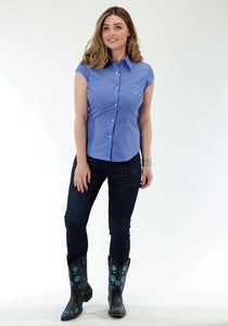 Ladies Amarillo Collection- Bridle Path Amarillo Womens Short Sleeve Shirt 0856 Solid Poplin - Periwinkle