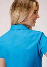 Ladies Amarillo Collection- Oasis Amarillo Womens Short Sleeve 00068 Solid Poplin - Turquoise